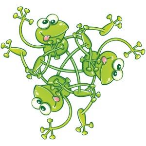 Choreographie de grenouilles saluant et tournant