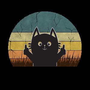 Katze Mittelfinger Kitten Vintage Retro Geschenk