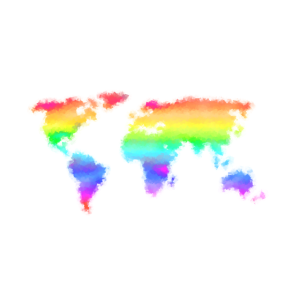 Regenbogenweltkarte - bunte, abstrakte Weltkarte