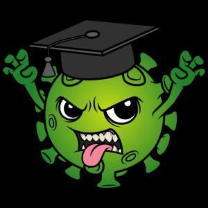 Abschluss Maskottchen Corona Virus Doktorhut Motto
