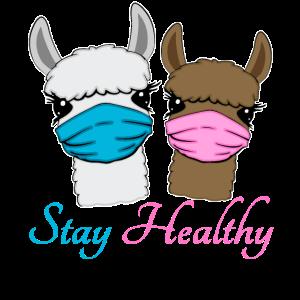 Lamas mit Mundschutz gegen das Corona Virus