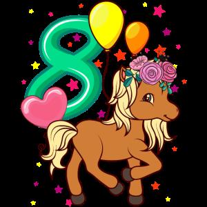 Kinder Geburtstagsshirt Pferd 8 Geburtstag Mädchen