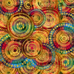 Buntes kreisförmiges Stammesmuster mit Gold