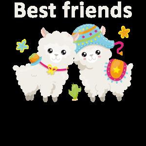 Lama Best Friends Freunde Freundschaft Geschenk