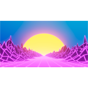 80s Retro Waves Neon Lines Sunrise