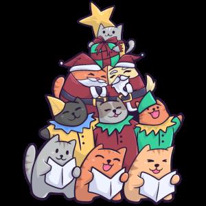 Christmas Cat Weihnachtsbaum Katzen
