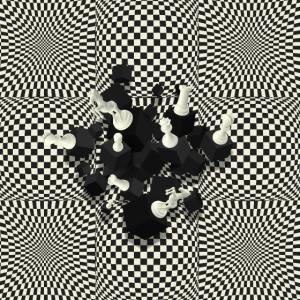 Schachbrett- und 3D-Schachfiguren-Komposition