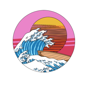 Retro Kanagawa Big Wave Japan