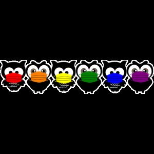 Eulen Regenbogen Mundschutz Corona