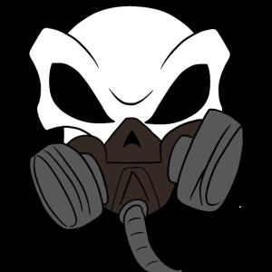 Totenkopf mit Gasmaske