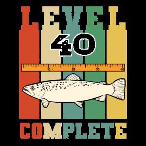 Level 40 Complete Retro Angler Geburtstag Fischer