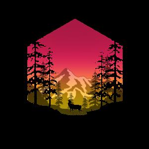 Hirsch im Wald (eckig/rot)