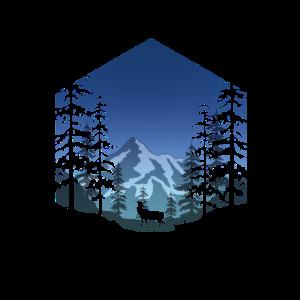 Hirsch im Wald (eckig/blau)