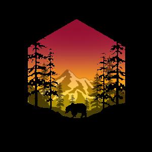 Bär im Wald (eckig/rot)