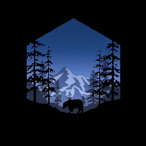 Bär im Wald (eckig/blau)