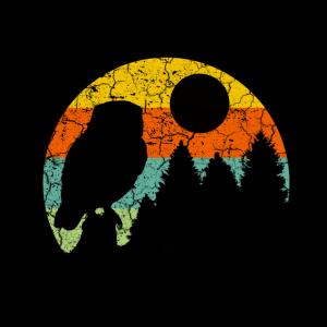 Maske Naturschutz im retrolook mit Eule und Wald