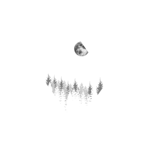 Geometrie Art Landschaft Berg Mond Wald v1w