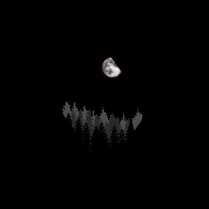 Geometrie Art Landschaft Berg Mond Wald v1