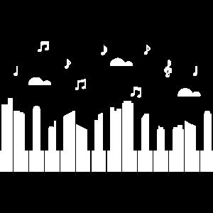 Piano Klavier Tastatur City Noten Himmel lustig