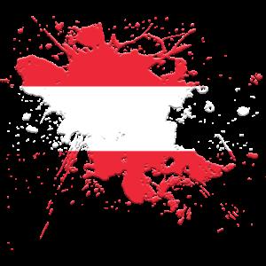 Oesterreich Flagge als Farbklecks