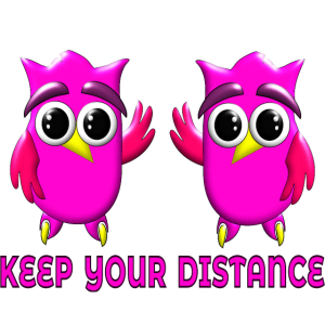 KEEP YOUR DISTANCE PANDEMIC HYGIENE OWL COVERINGS