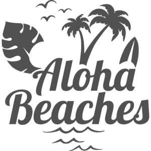 Aloha beaches, palm trees and waves