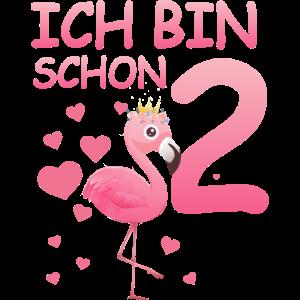 Flamingo T-Shirt 2. Geburtstag Mädchen 2 Jahre