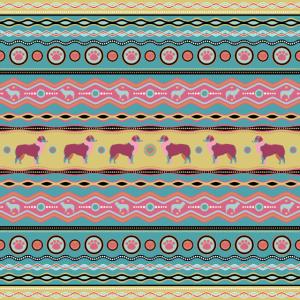 Australian Shepherd Dekoratives Muster in Pastellfarben