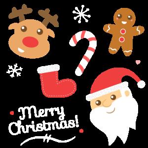 Nette frohe Weihnachten, Weihnachtsmann, Rentier, Lebkuchen