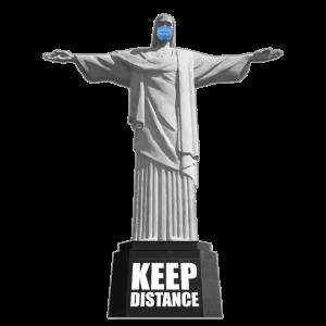 Abstand halten, Christus Statue mit Gesichtsmaske