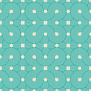 Teal & Cream Geometric Swirls Pattern