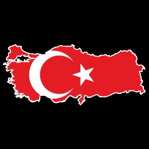 Karte der Türkei mit Flagge nach innen