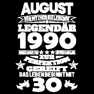 30. Geburtstag Augsut 1990 Geschenk Geschenkidee