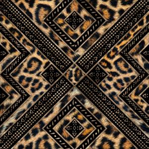 Leopardenfell mit ethnischer Verzierung