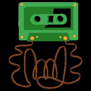 Rockig Rock Kassette Tape Pommesgabel