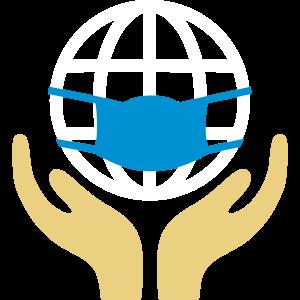 Hände halten Erde mit Maske