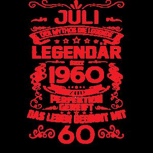 60. Geburtstag Juli 1960 Geschenk Geschenkidee