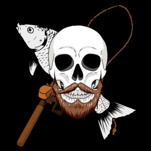 Angler Totenkopf Fisch angeln Angelsport fischen