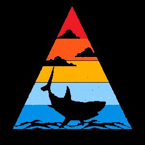 Retro Hai Sunset Silhouette Ozean Fisch Angler