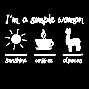 Im a simple woman coffee sunshine Alpaka Lama Tier