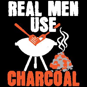 Griller Shirt Echte Männer grillen Kohle