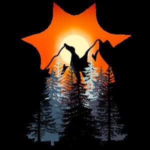 Sonnenuntergang Wald Berge