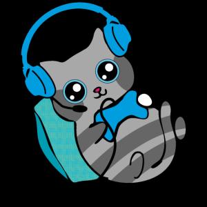 Gamer Katze Spielt Computer Geschenk Lustig