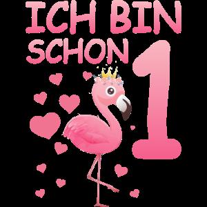 Flamingo T-Shirt 1. Geburtstag Mädchen 1 Jahr