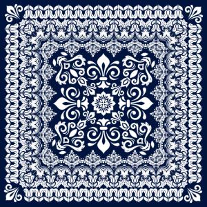 Orientalischer Damast weiß auf blau