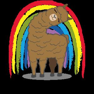 Regenbogen Lama Alpaka Geschenk Lustig Kinder