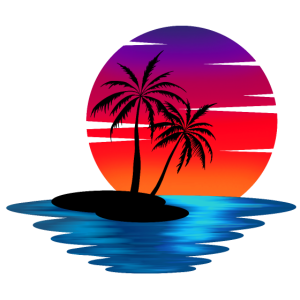 Insel im Sonnenuntergang (rot)