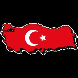 Türkei Karte mit Flagge. Halbmond und Stern