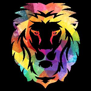 Löwe Löwenkopf Bunt Farbig Geometrie