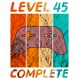 45 Geburtstag Level complete Retro Style Gaming